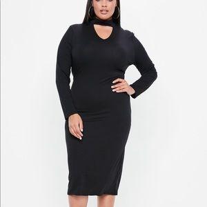 Missguided Tab Neck Longline Bodycon Dress | 16